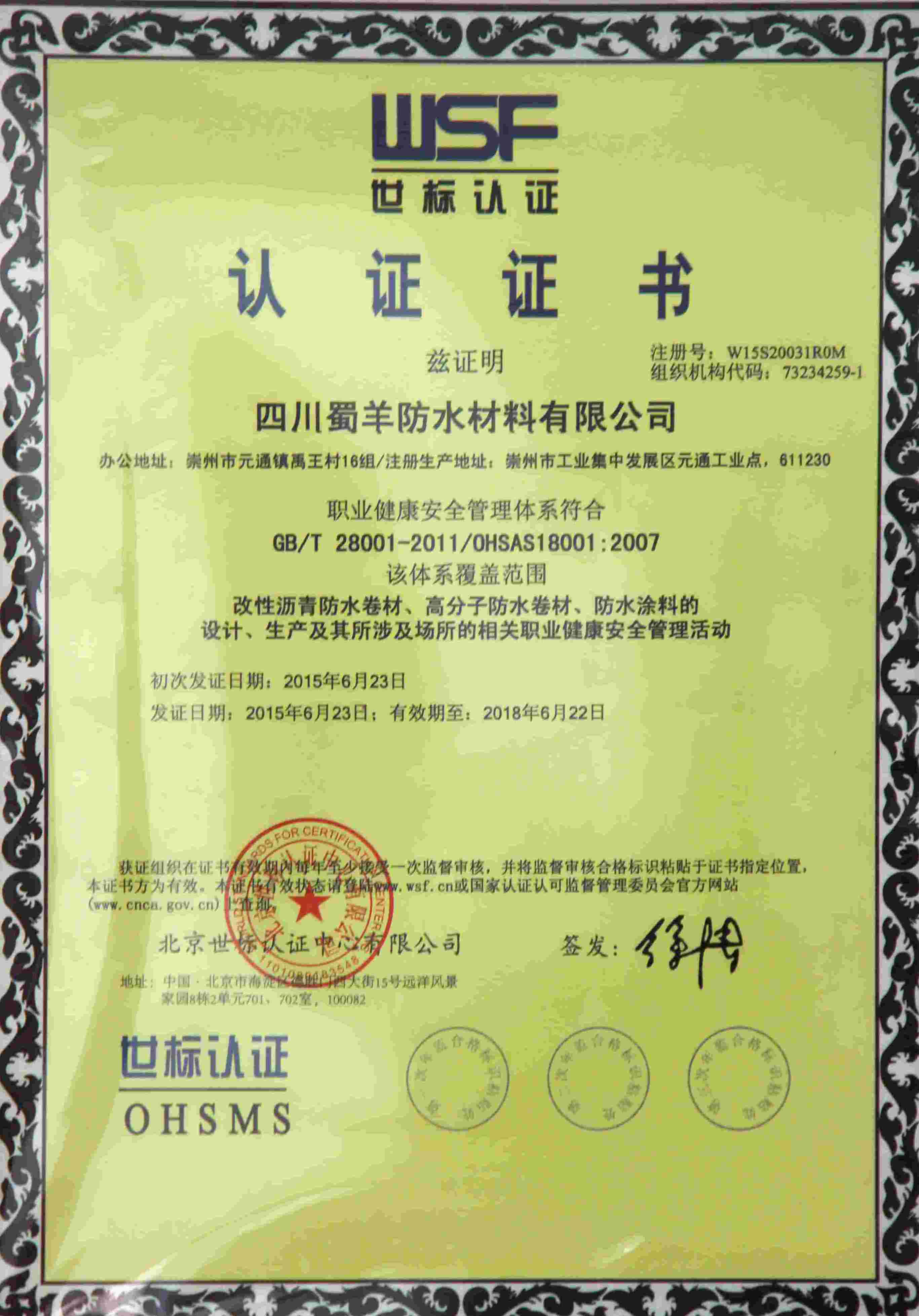 ISO Standard Certificate