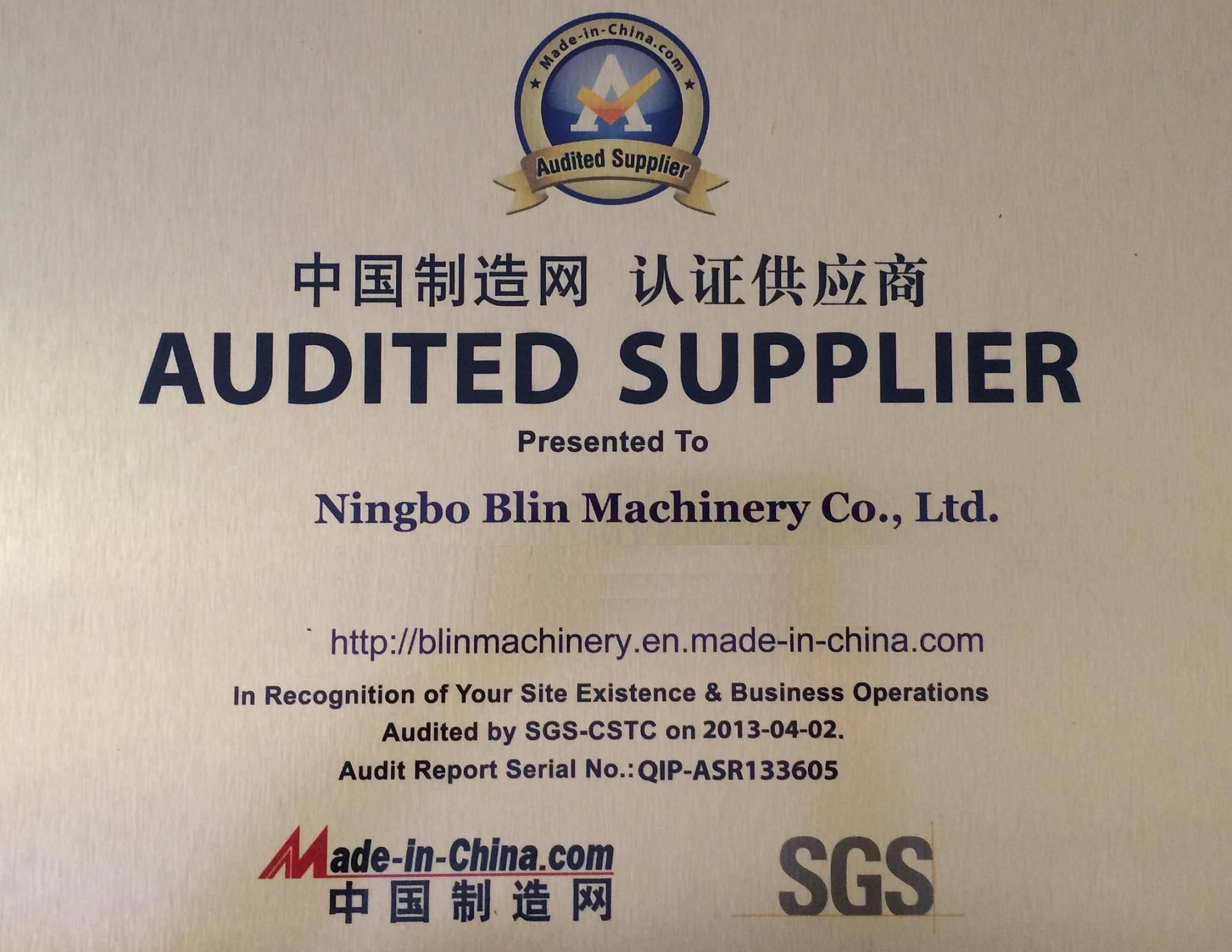 SGS Audited Certificte
