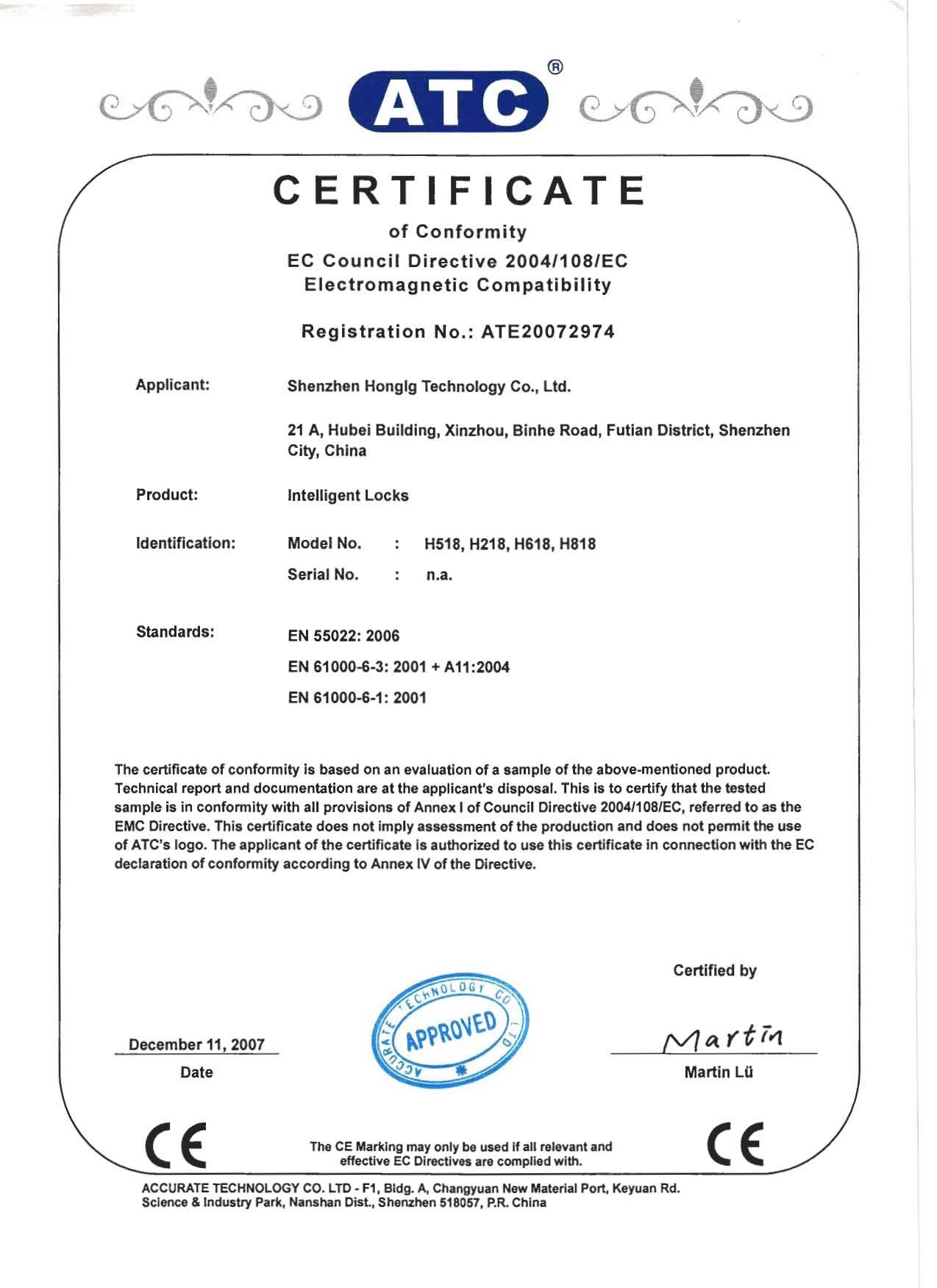 HONGLG CE Certification