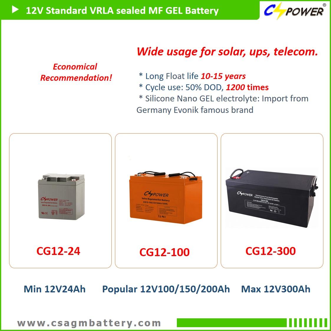 CSPOWER CG series gel battery upto 12V250Ah