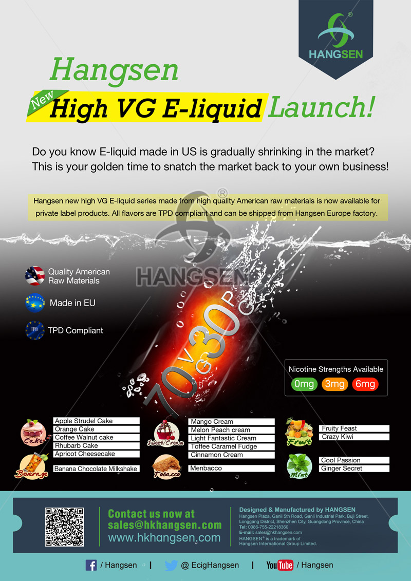 Hangsen TPD compliant High VG E-liquid