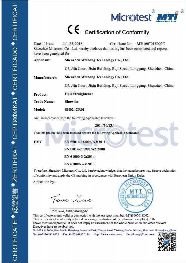 Hair Straightener CE EMC Certificate