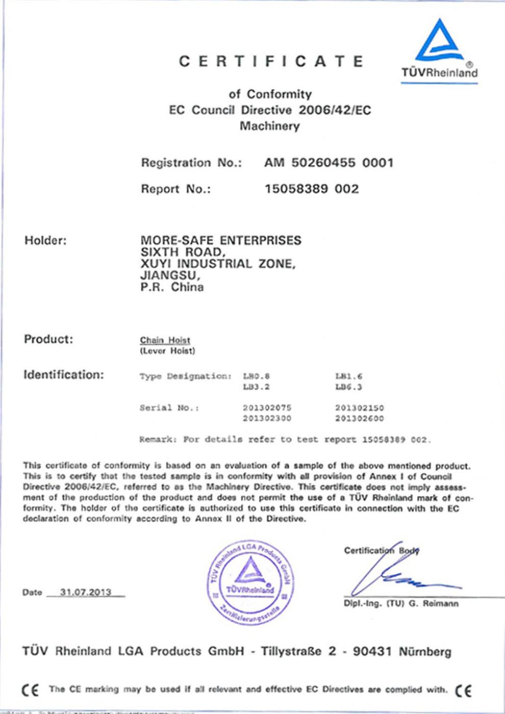 TUV Certificate of Chain Hoist-Lever Hoist