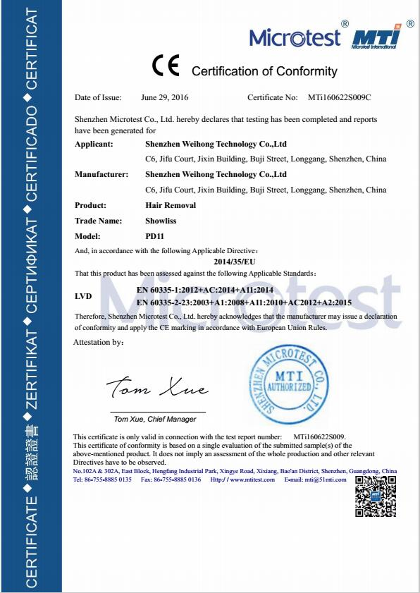 Hair Removal CE LVD Certificate