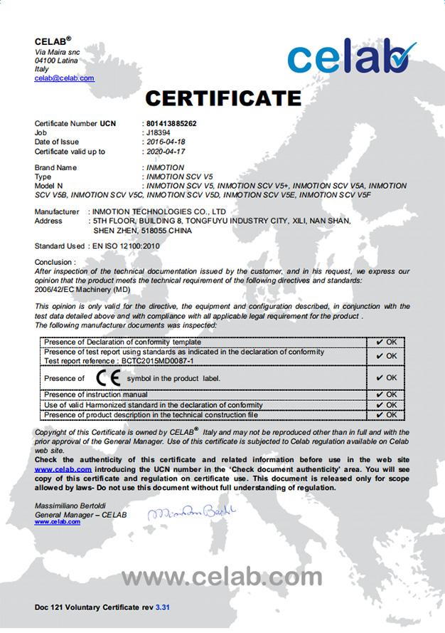 Certificate of CELAB