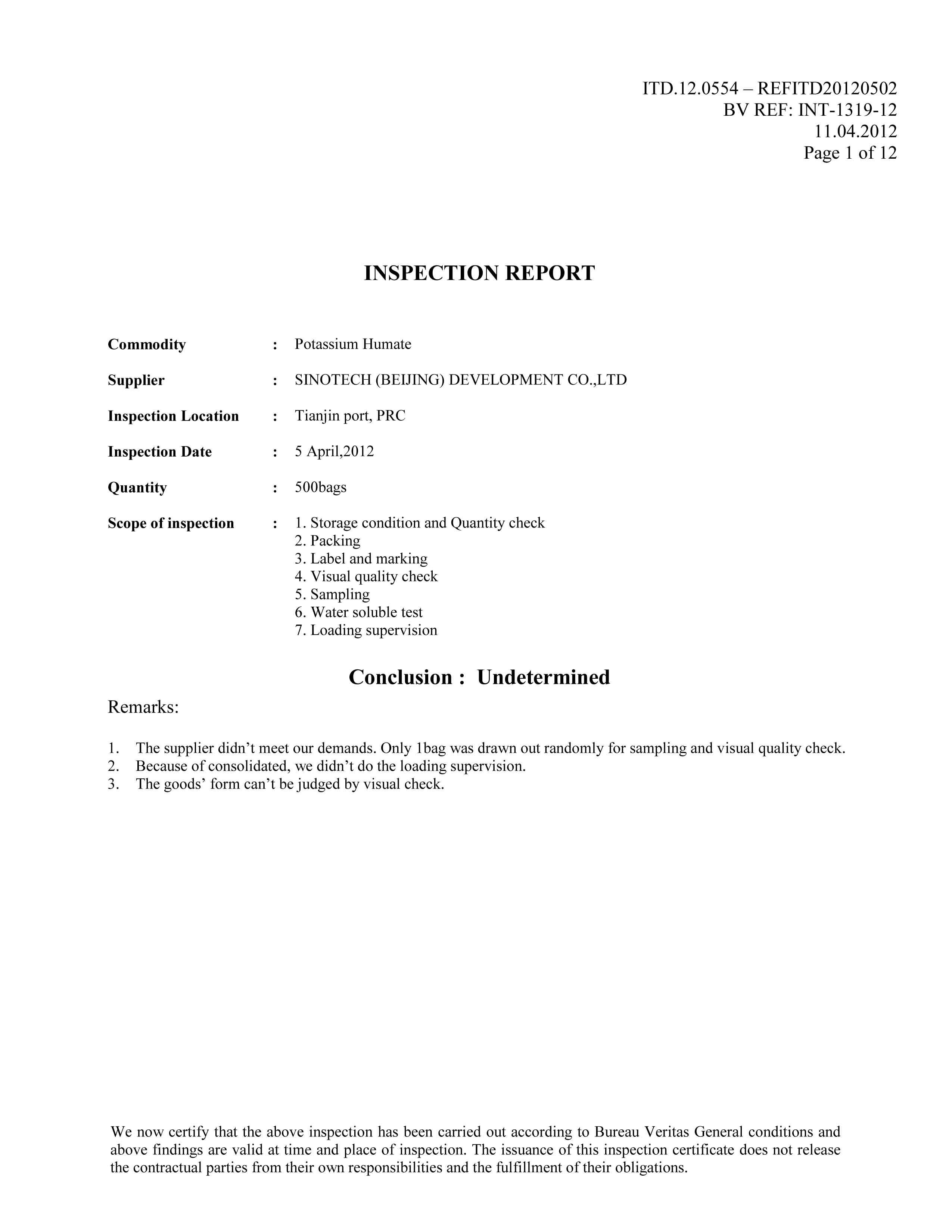 BV Potassium Humate Report