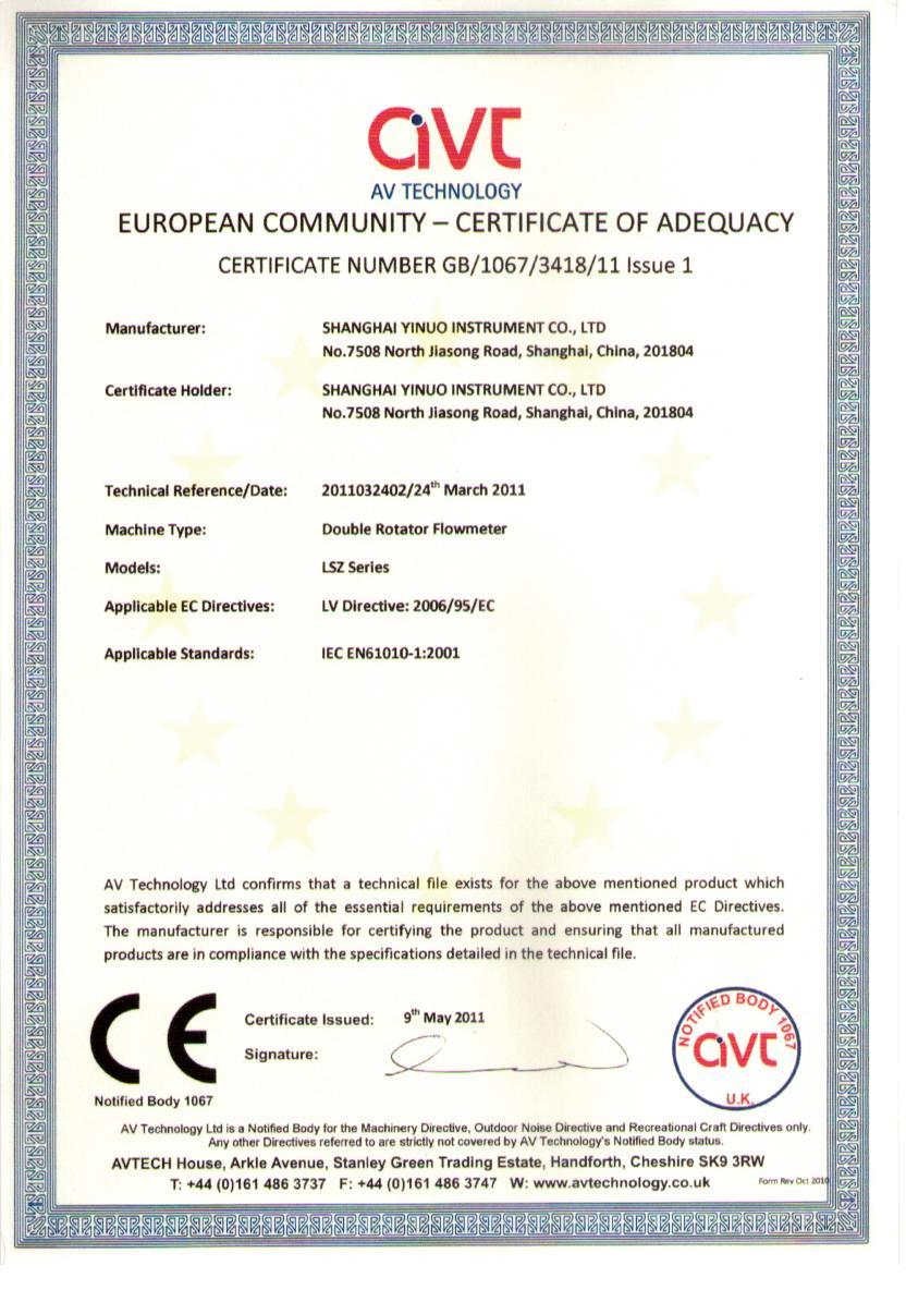 CE certificate of LSZ-PD Meter.