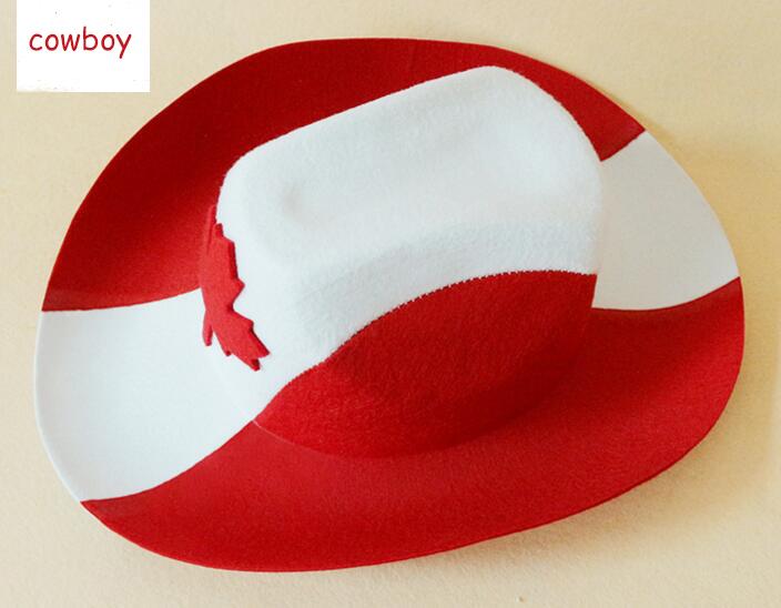 Canada Red Cowboy Hat Maple Leaf Adult Unisex