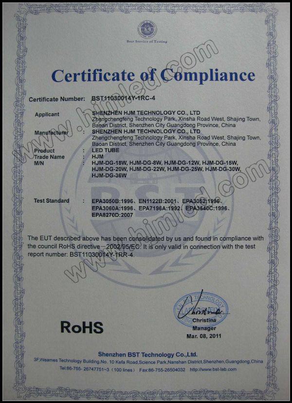HJM LED Tube RoHS Certification