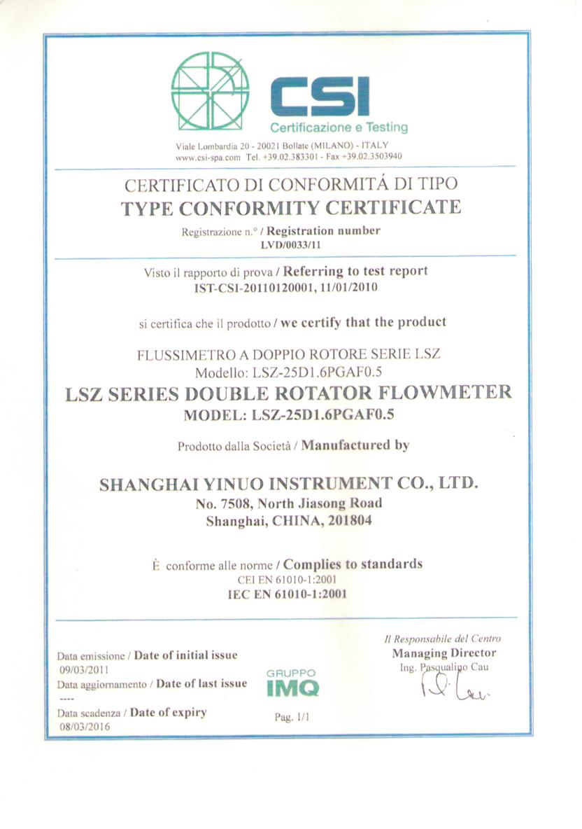 CSI Certificate of LSZ PD Meter