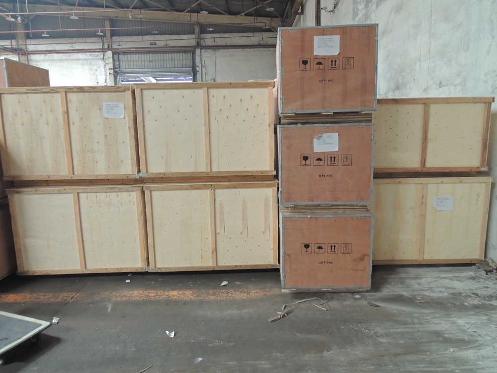 Machines in wood boxes