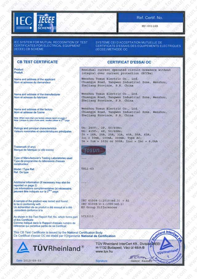 CB certificate of RCCB