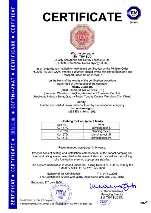 Climbing of EN1176 certification