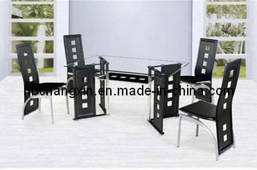 Selling Comfortable Top-Quality Metal Glass Dining Table