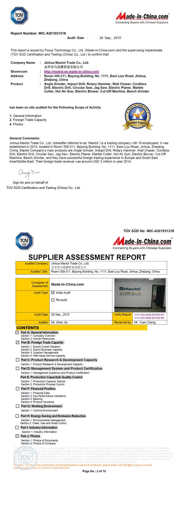 TUV SUD ASSESSMENT REPORT