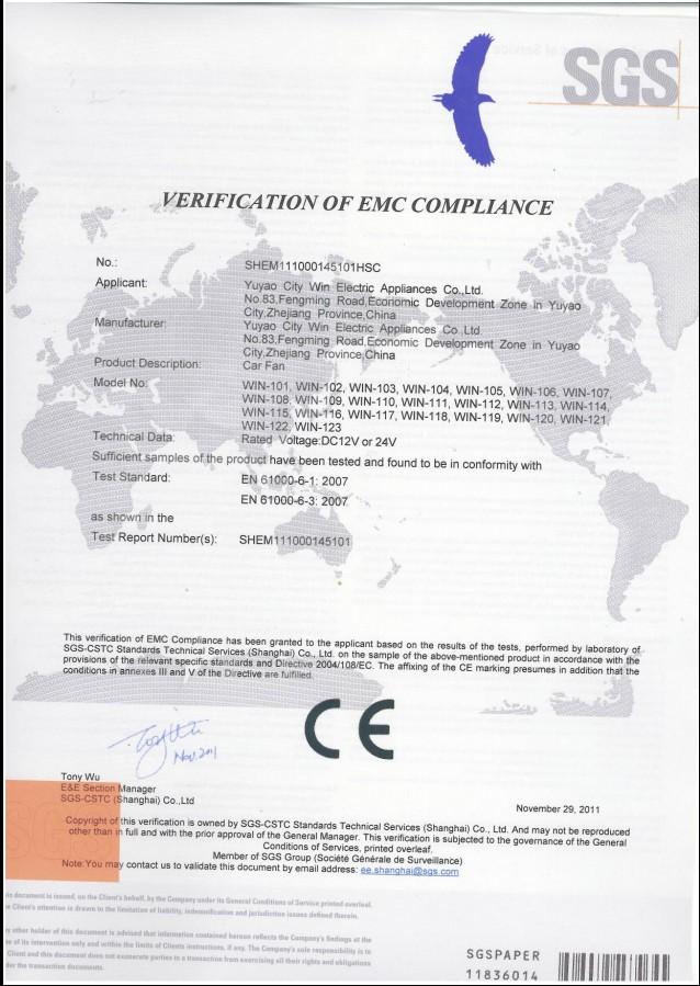Car Fan-CE certificate