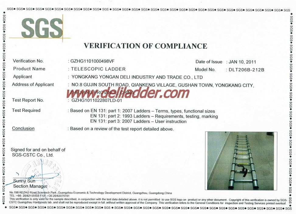 Telescopic ladder EN 131/SGS certificate