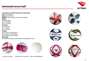 Laminated soccer ball catalogue