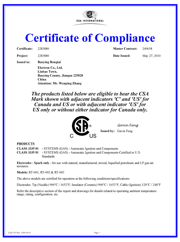 CSA certification - products into the north American market pass