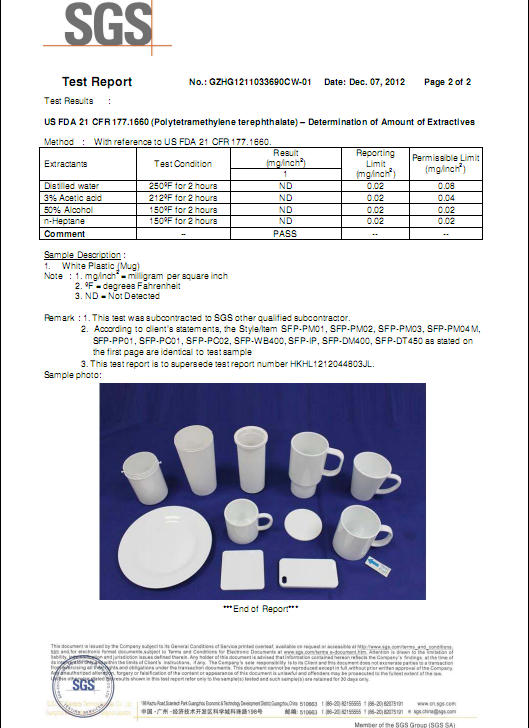 SGS Certificate for mugs &plate