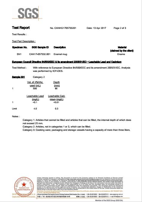 enamel SGS test report