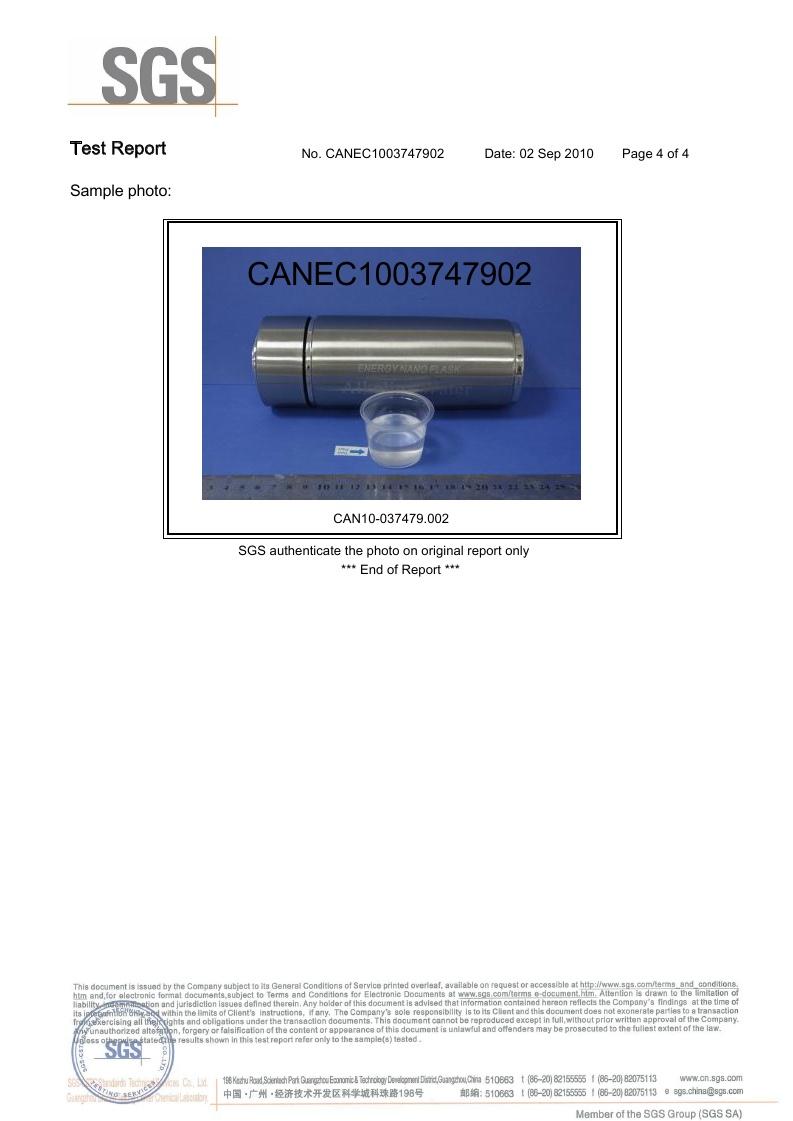 Alkaline Water Flask SGS Certificate page 4