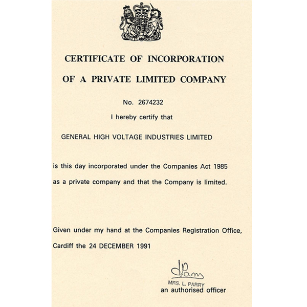 UK Register Certificate of Incorporation