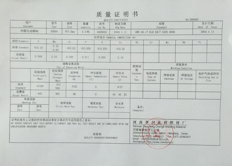 Welding Electrode Quality Certificate