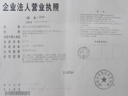 China Company Business License