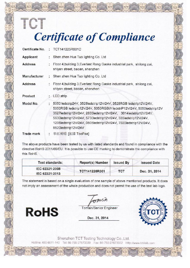 LED Light ROHS Certificate