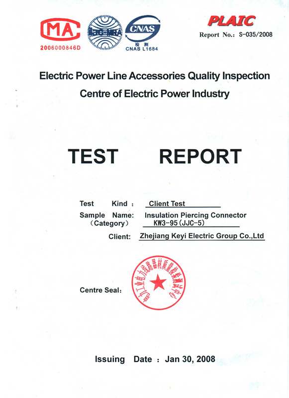 Third Party Insulation Piercing Connector KW3-95 Testing Report