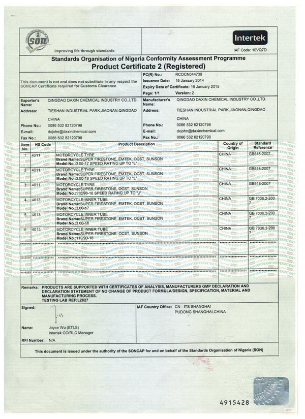 Motorcycle Tyre SONCAP Certificate