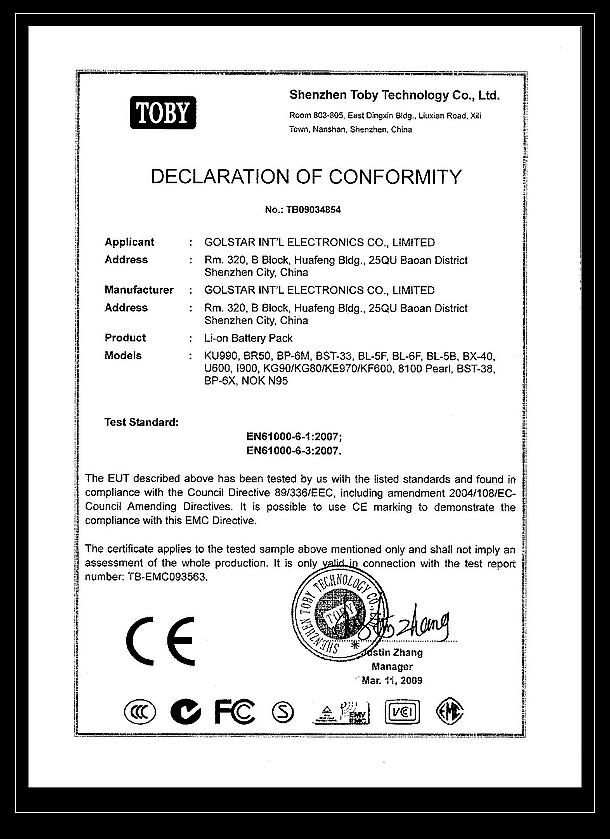 ROHS Certificates