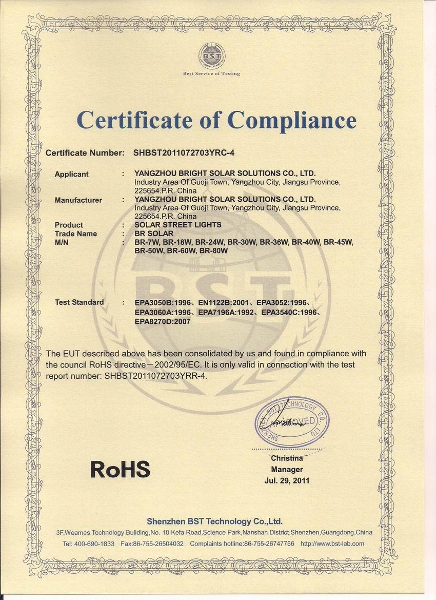 RoHS Certificate for Solar Street Lights,Solar Street Lighting 7W-80W