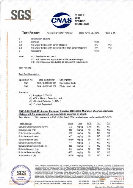 EN71-3 TEST REPORT FOR HOT WATER BOTTLE