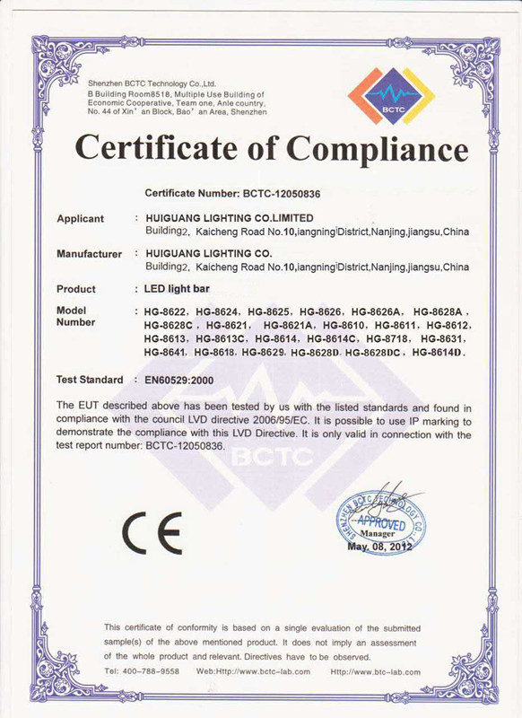 led work light CE certifications