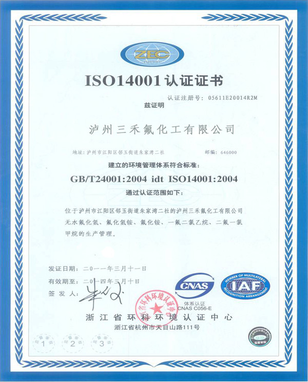 ISO 14001 Certificate for gas
