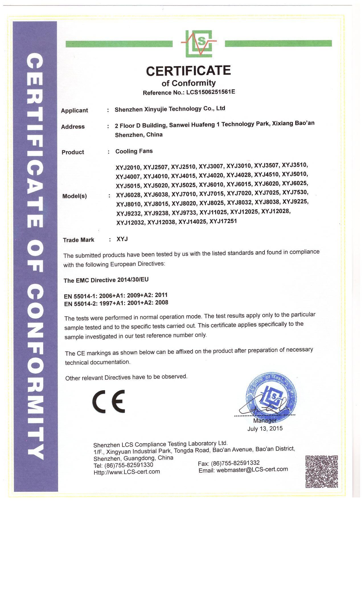 Xinyujie DC fan CE certificate