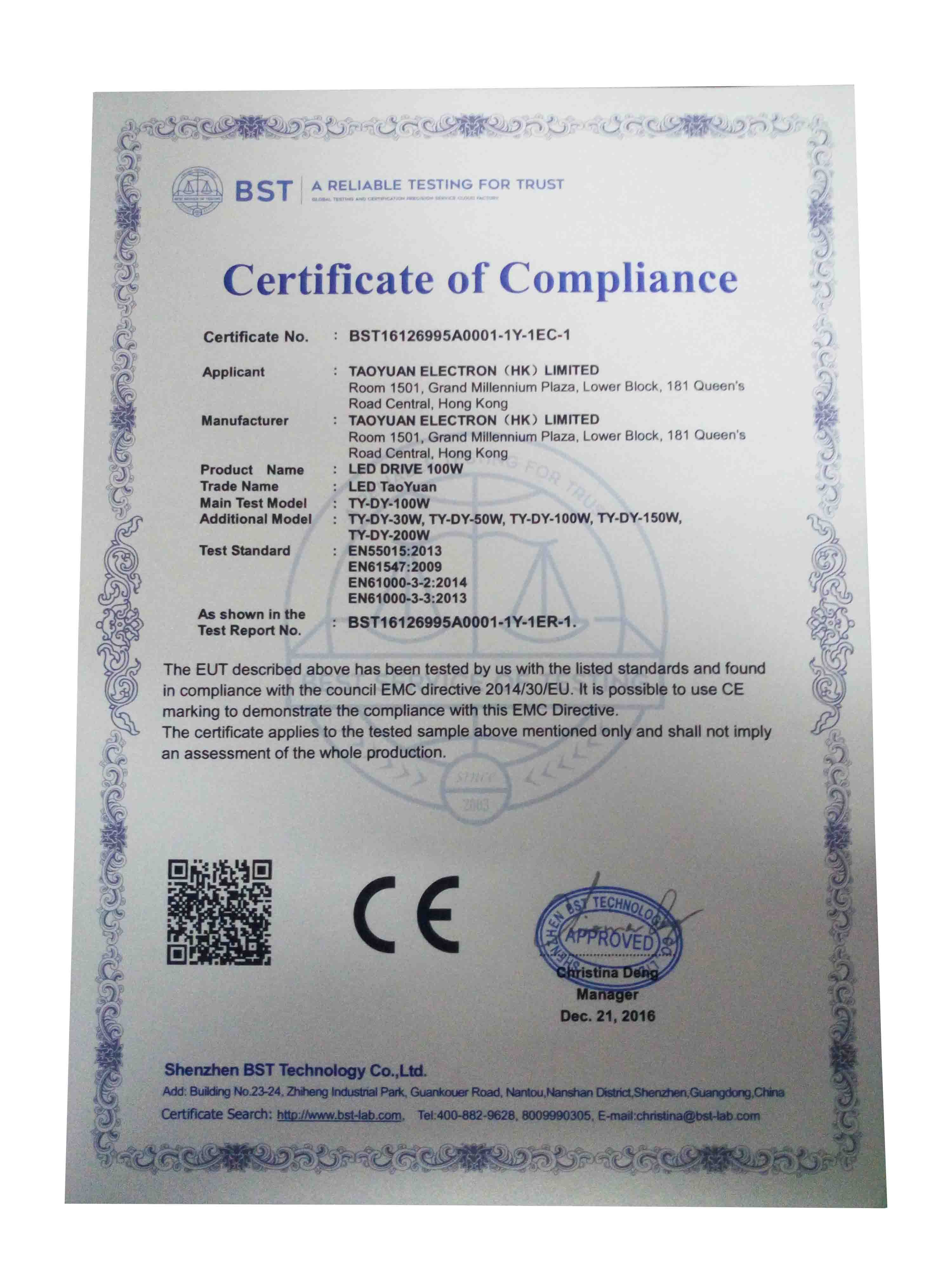 CE Certificate of LED DRIVER
