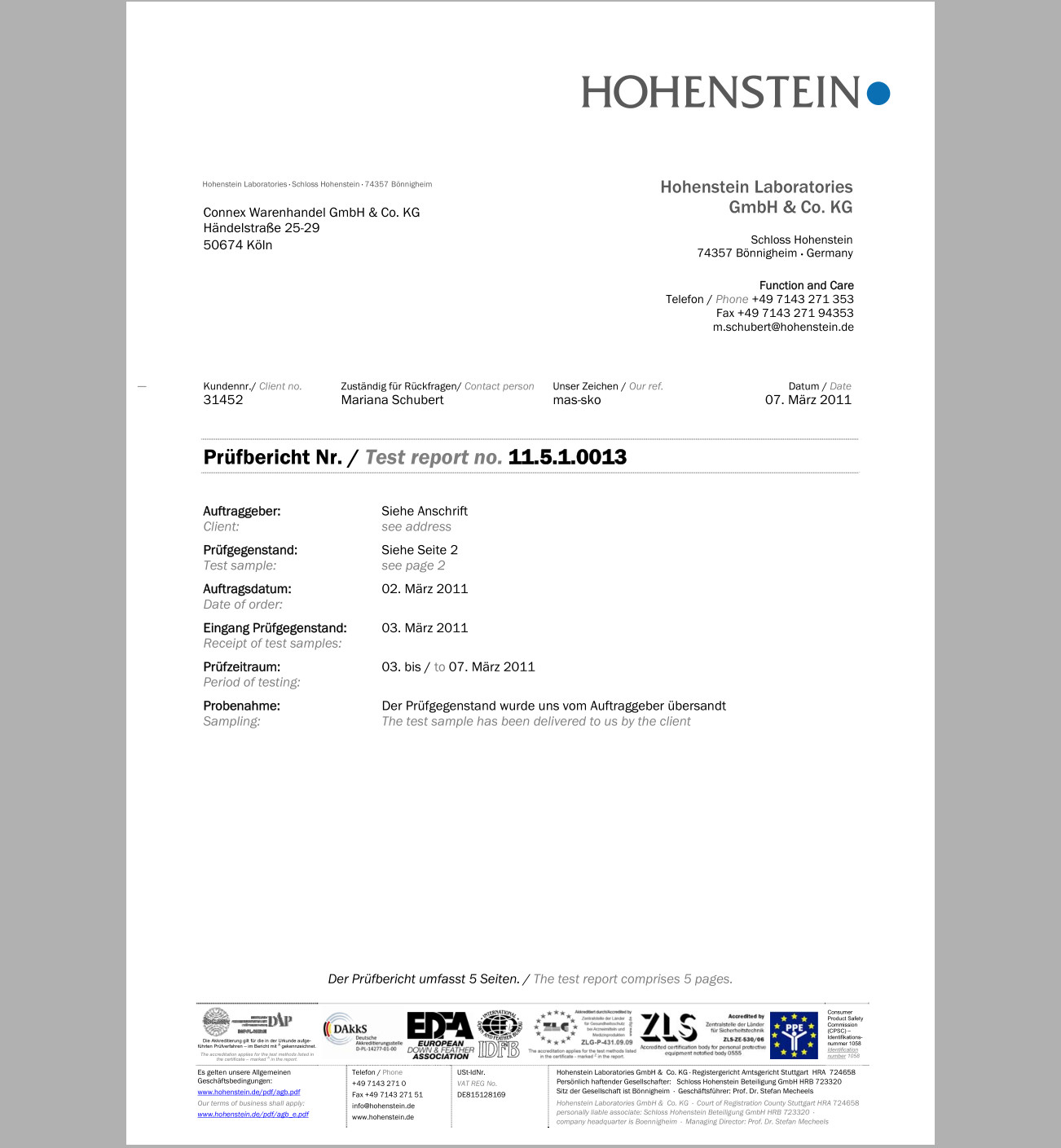 Hohenstein Test Report of UPF