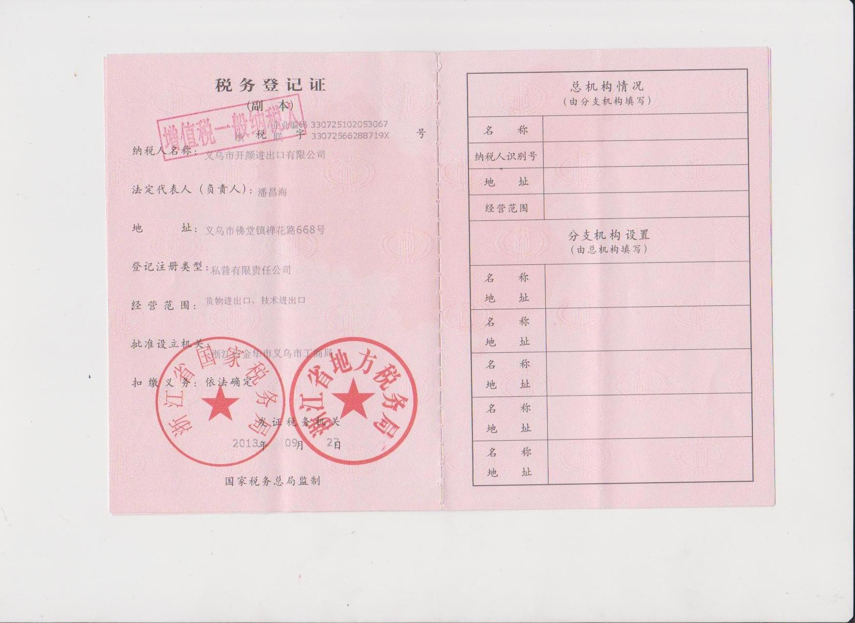 BIOSSOMING SMILEPUS MEDICAL COMANY TAX REGISTRATION CERTIFICATE