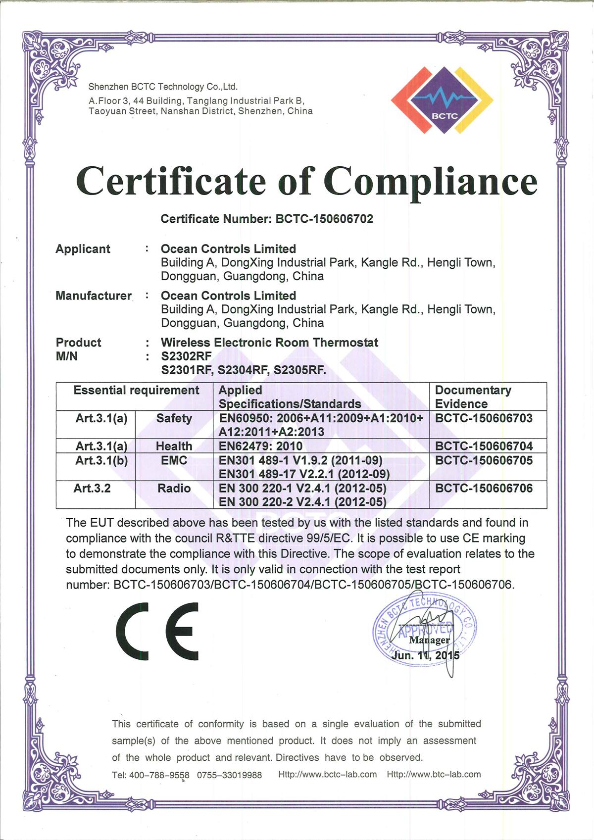 CE Certificate of thermostat