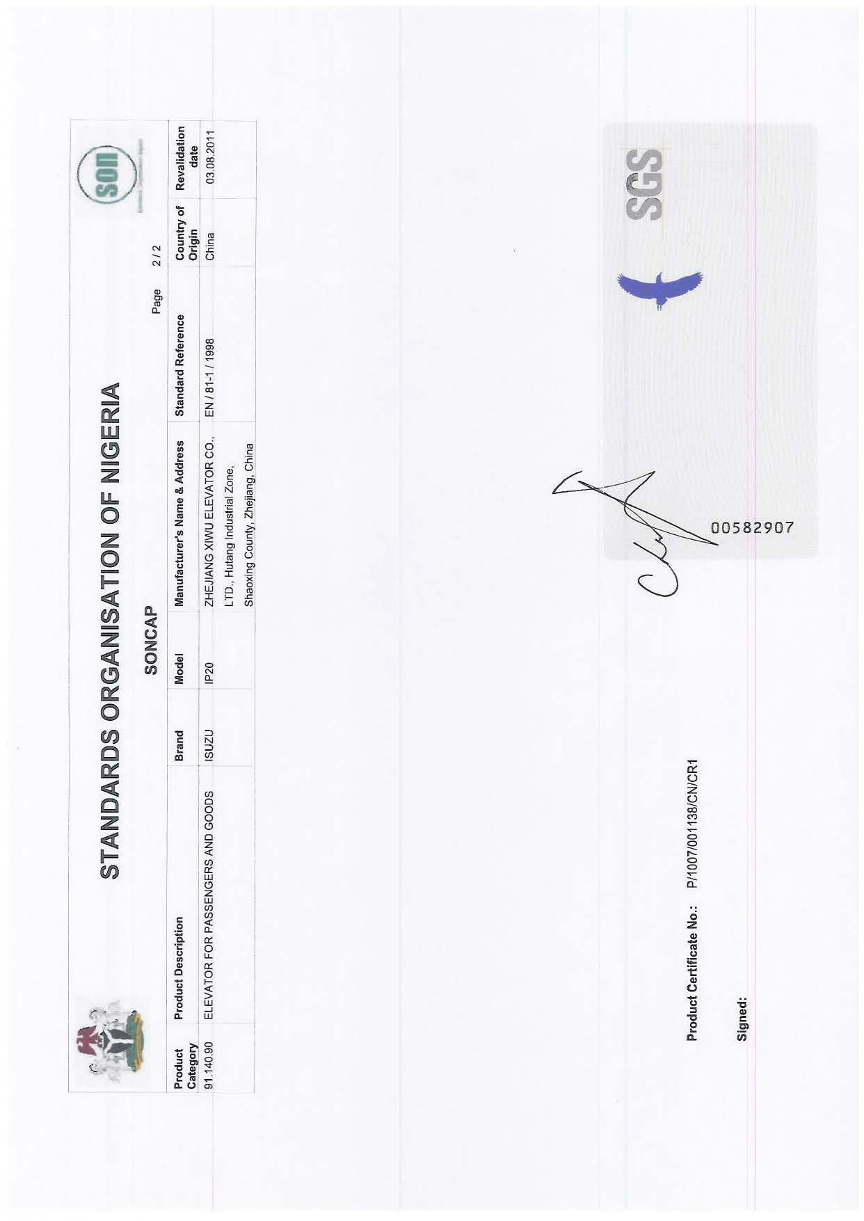 SONCAP certificate for elevator & escalator