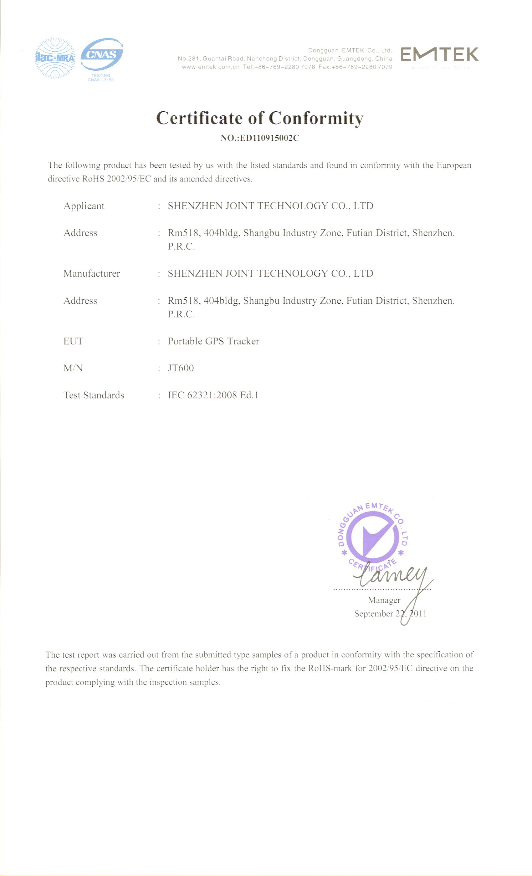 rohs certificate for portable gps tracker jt600