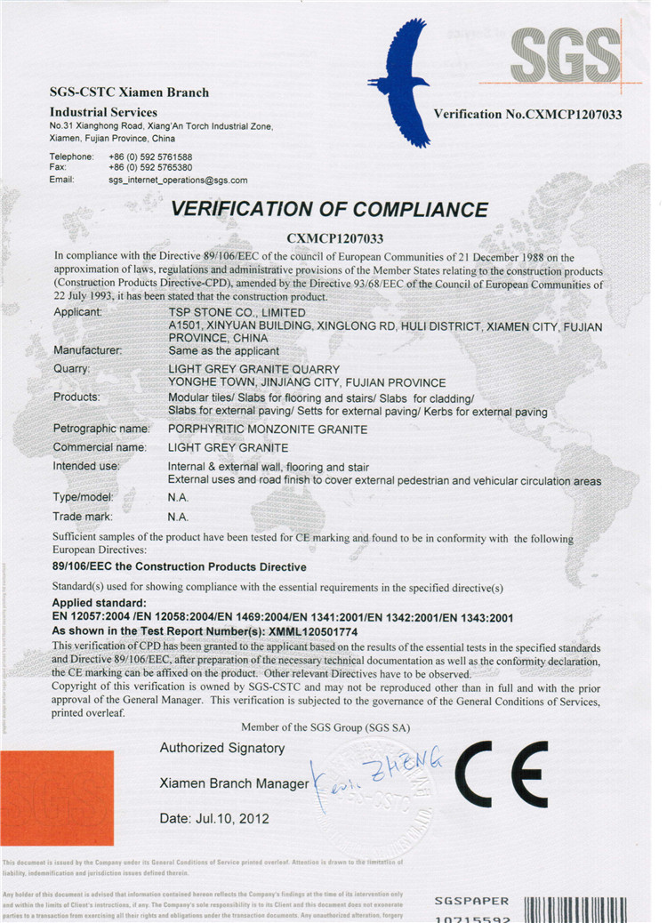 CE Certificate for Light grey granite