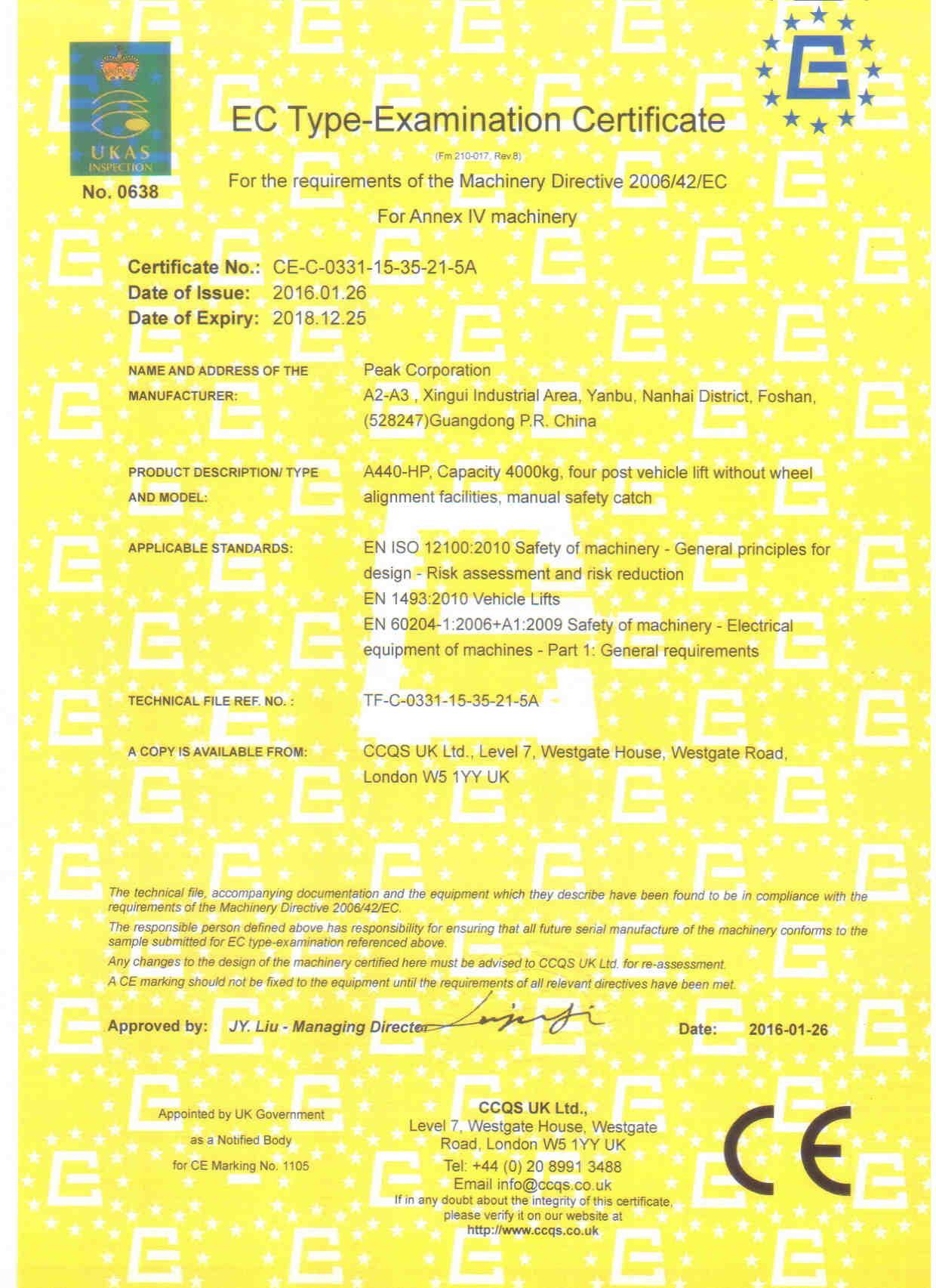 CE Certificate(Model: A440-HP)