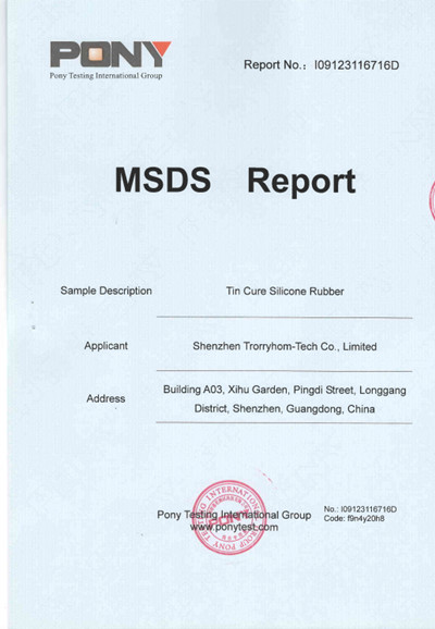 MSDS for Condensation/Tin Cure Silicone Rubber