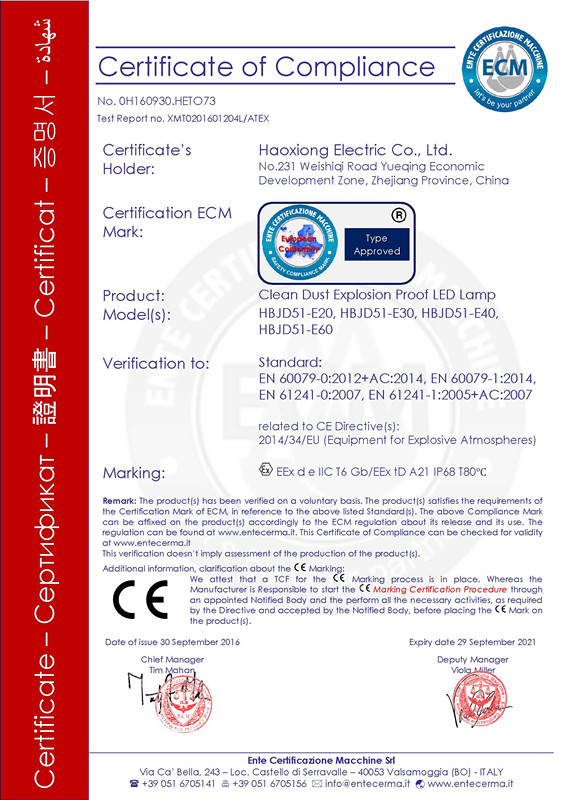 ATEX certificate of explosion proof clean dustproof led light