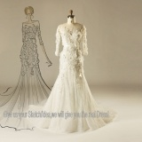 3/4 Sleeves Lace Flower Wedding Dress Tulle Bridal Wedding Gown Manufacture Factory From China