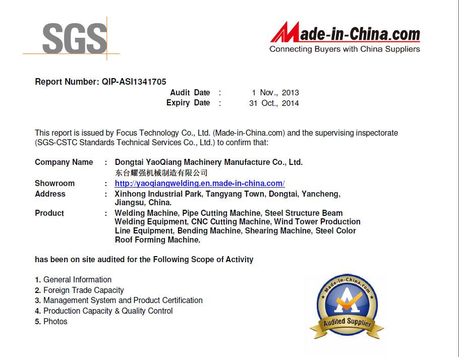 SGS factory audit report